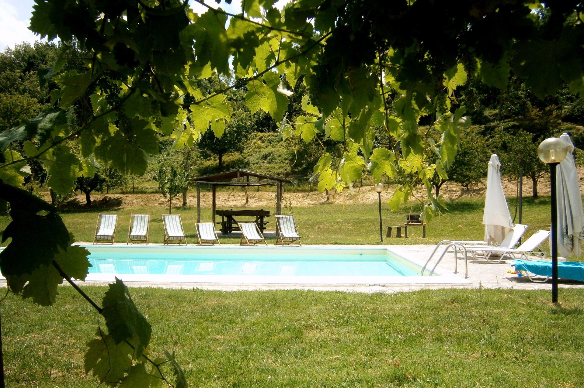 La piscina esterna, nel giardino dell'agriturismo Il Muretto, Mugello